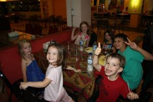 At the kids table of one our favorite places to eat, La Piazza