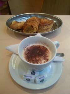 Our oh-so-French breakfast at a patisserie around the corner from our apartment.