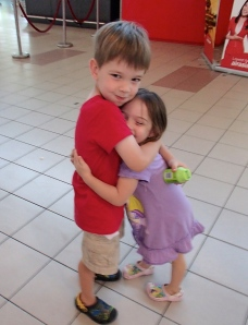 Cian and Aine at the Kota Kinabalu airport in Malaysian Borneo