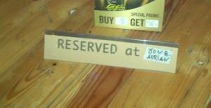Our permanent table reserved for our personal dart board at Tortuga.  I'm not kidding.