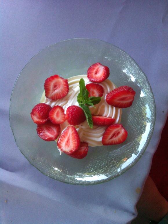 Strawberries with creme fraiche for dessert.