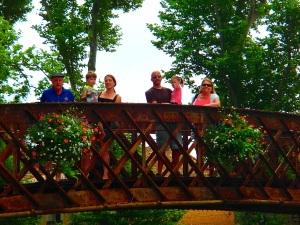 The Powells on a bridge over the canal