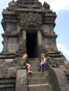 NJIS friend Zoe with Cian at the entrance to a Prambanan temple