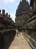 Aine walking the external walls of one of the Prambanan temples