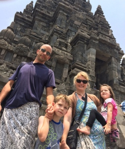 At Prambanan Temple, Jogjakarta, wearing the required traditional sarong.
