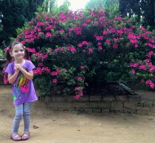 Aine and an azalea bush
