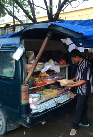 Morning meals sold from the back of a van