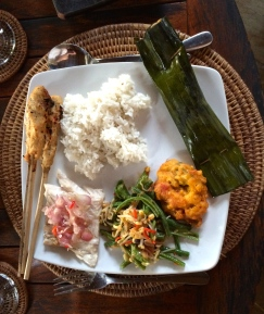 Barracuda three ways, as satay, grilled with Balinese sambel relish, and wrapped in banana leaf with savoury spices
