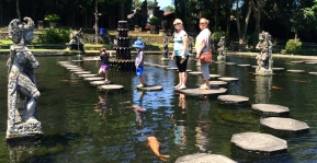 Jumping stepping stones at the water garden. Cian fell in as expected