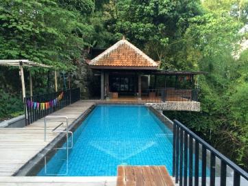 The pool and Durga's wife's yoga studio
