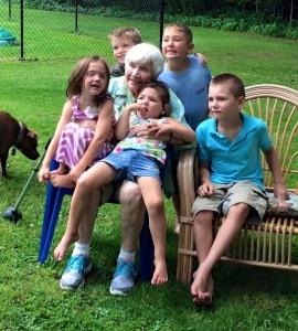 Gigi with the great grandchildren: Cian, Karl, Cruz, Nina, and Aine