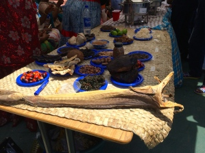 Traditional Nigerian foods. I think the thing in the front is a sea monster