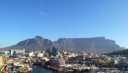 The waterfront and Table Mountain from the ferris wheel