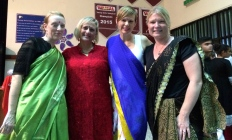 Sarah and friends in sari