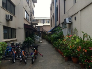 The alley into teacher residence. The rest of the school is just behind me
