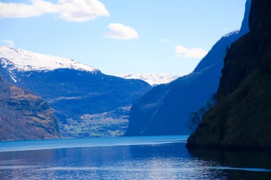 Snow, mountain, fjord