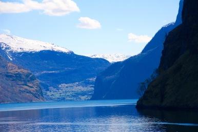 Snow, mountain, fjord
