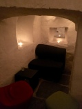 An alcove in the 300 year old wine cellar turned pub under our hotel