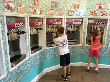 Getting frozen yogurt at Sweet Frog