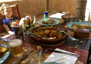 Lunch of chicken tagine and Moroccan bread