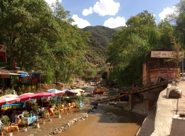 Restaurants along the Ourika River
