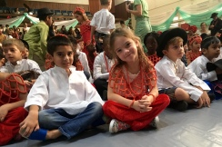 Aine and friend Vinay at the assembly