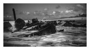 A shipwreck along the shore